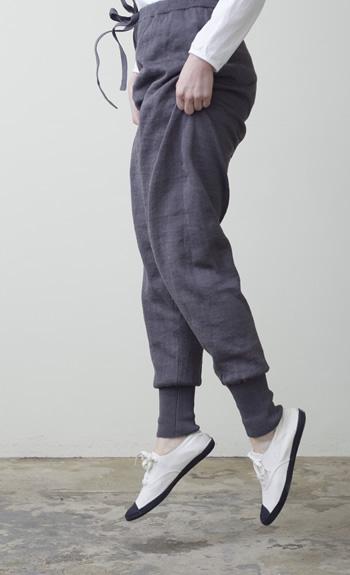 tapered pantsLinen / steel, natural