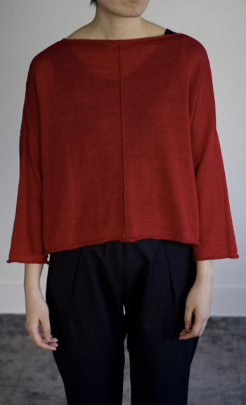 square pullover / Linen / black, mist, cardinal / ¥38,000 +tax