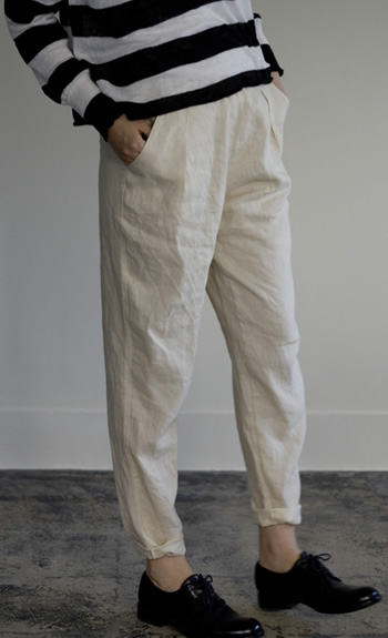 tapered pants / Linen / black, beige / 28,000 +tax
