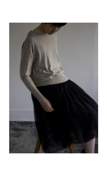 crew neck / Cotton60%, Cashmere40% / cleam, beige, black / ¥22,000 +tax