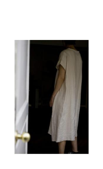 dolman one piece / Cotton, Linen / light-gray, black, beige / ¥38,000 +tax