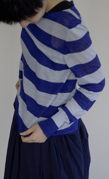 boat neck pullover / Linen / black×off, black×ultramarine, mist×royalblue / ¥38,000 +tax