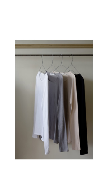 long-sleeve cut sew / Cotton / black, white, gray, pink / ¥15,000 +tax