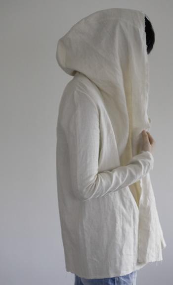hood jacket / Linen / black, beige / ¥31,000 +tax