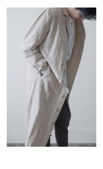 coat / Cotton/ Linen /  navy, white / ¥58,000 +tax Cotton / beige / ¥58,000 +tax