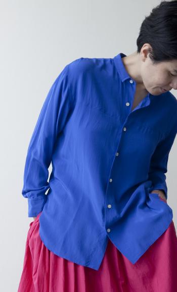 silk shirt / Silk /  white, blue / ¥35,000 +tax