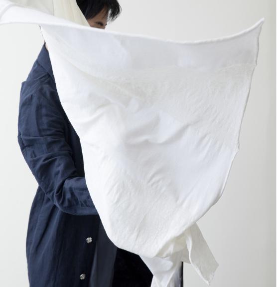 stole / Cotton/ Linen / white, black / ¥12,000 +tax