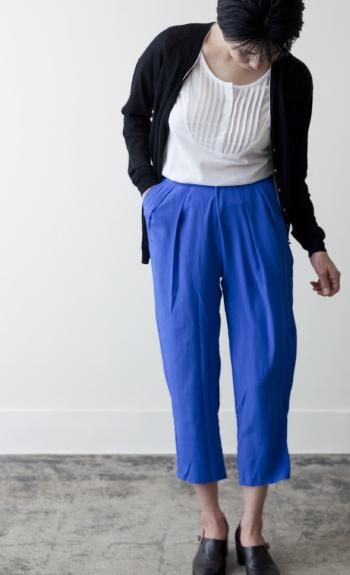 pin tuck cut sew / Cotton / white, black / ¥15,000 +tax tuck pants / Silk / black, blue /  ¥39,000 +tax
