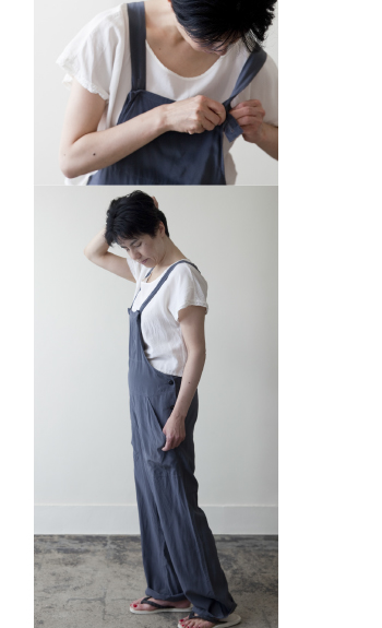 silk blouse / Silk / white / ¥21,000 +tax salopette / Silk / gray, navy / ¥48,000 +tax