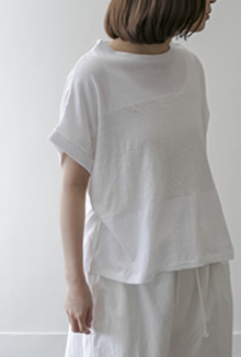 border cut sew Cotton/Linen/white,black/16.000yen