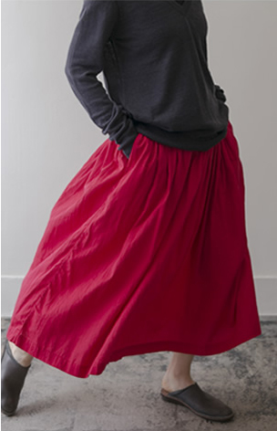 gather skirt Cotton/red,white/28,000yen