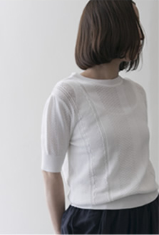 lace pullover Cotton/white,black,navy/28,000yen