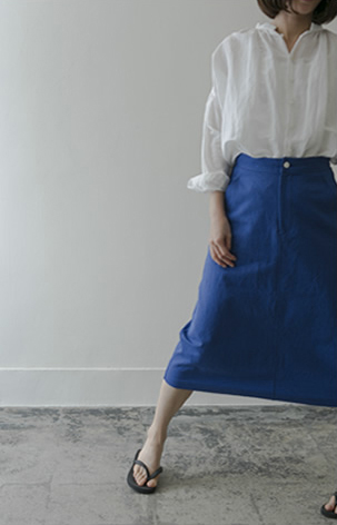A-line skirt Cotton/Wool/blue,brown/38,000yen