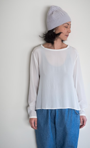 nawaami cap / crew neck blouse silk