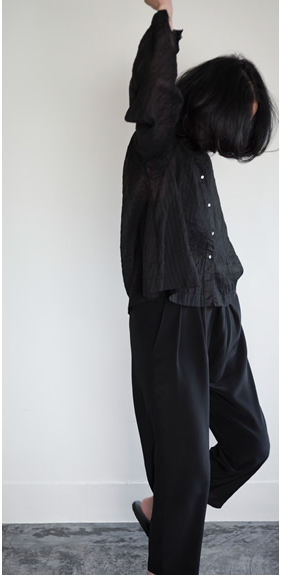 A-line blouse / silk tuck pants
